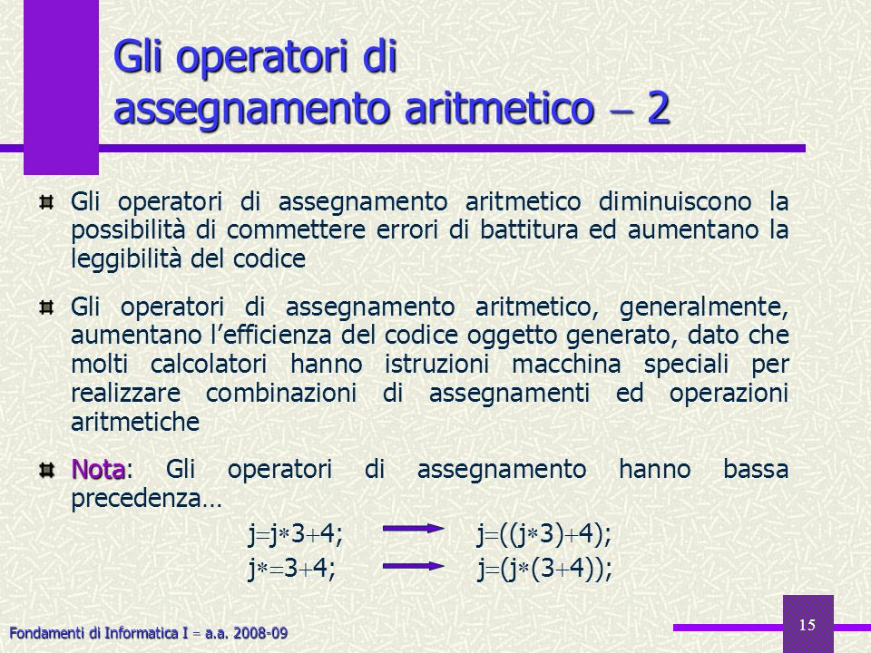 Fondamenti di Informatica I a.a. 2008-09 15 Gli operatori di assegnamento aritmetico 2 Gli operatori di assegnamento aritmetico diminuiscono la possib