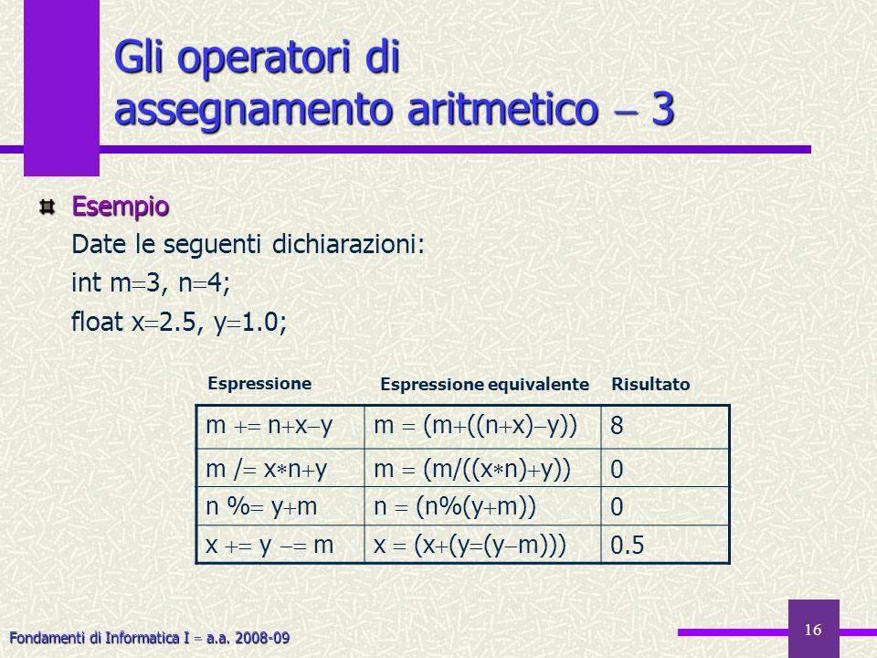 Fondamenti di Informatica I a.a. 2008-09 16 Gli operatori di assegnamento aritmetico 3 Esempio Date le seguenti dichiarazioni: int m 3, n 4; float x 2