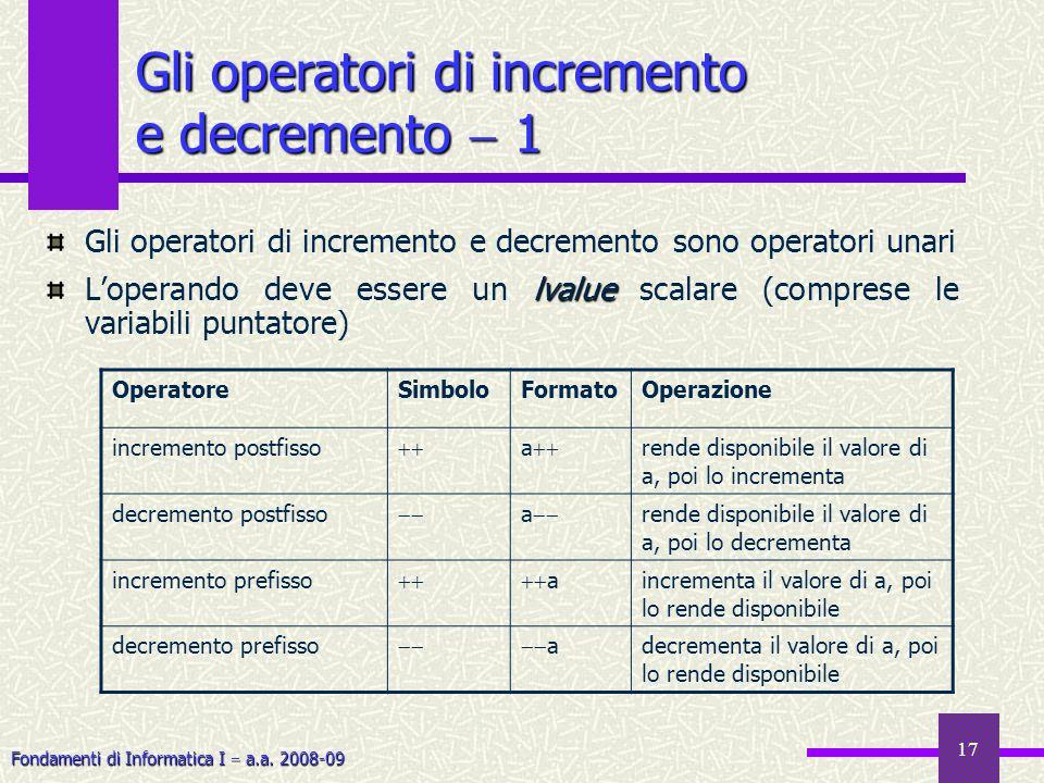 Fondamenti di Informatica I a.a. 2008-09 17 Gli operatori di incremento e decremento 1 Gli operatori di incremento e decremento sono operatori unari l