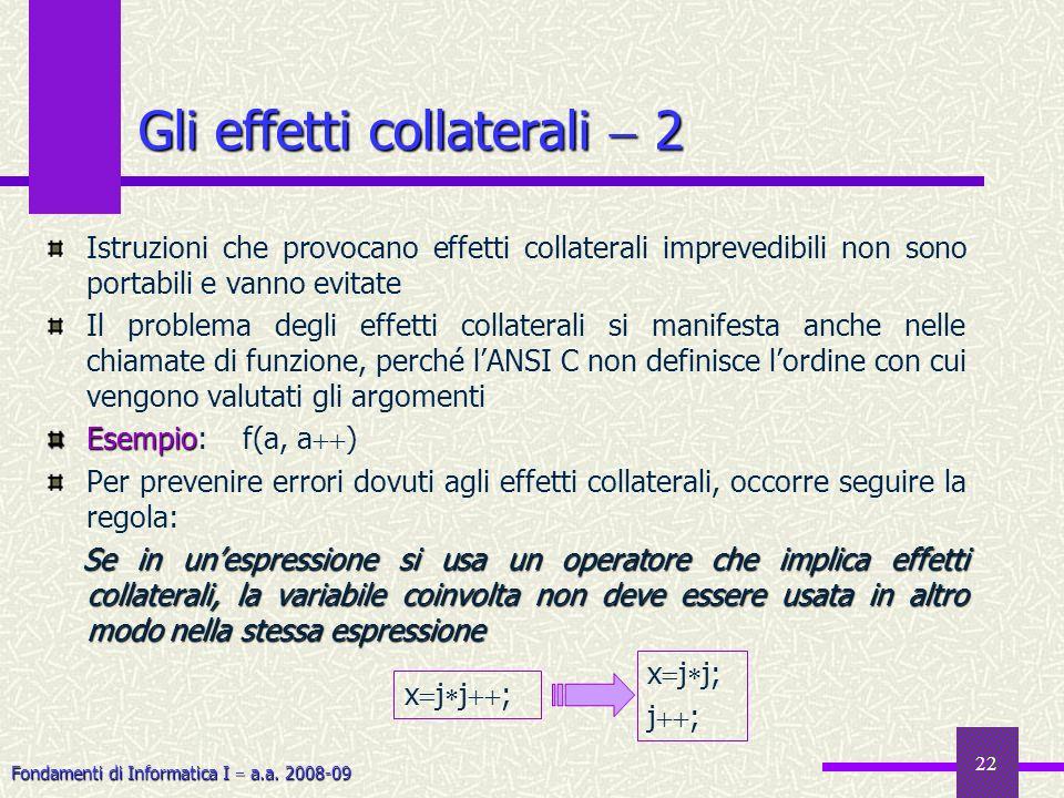 Fondamenti di Informatica I a.a. 2008-09 22 Istruzioni che provocano effetti collaterali imprevedibili non sono portabili e vanno evitate Il problema
