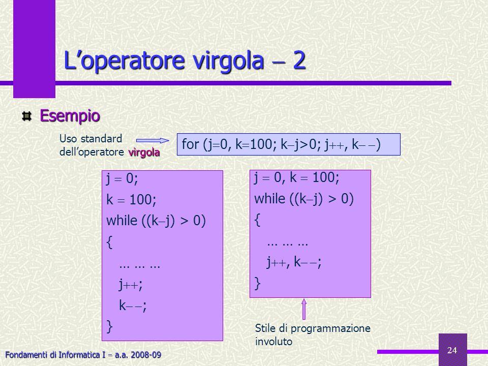 Fondamenti di Informatica I a.a. 2008-09 24 Loperatore virgola 2 Esempio j 0, k 100; while ((k j) > 0) { … … … j, k ; } j 0; k 100; while ((k j) > 0)