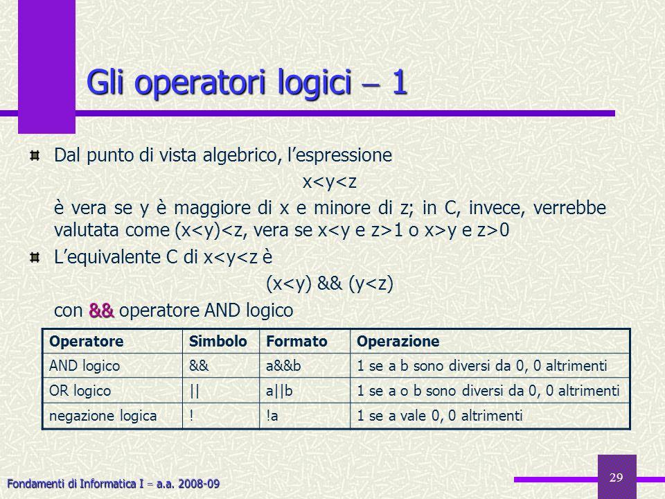 Fondamenti di Informatica I a.a. 2008-09 29 Gli operatori logici 1 Dal punto di vista algebrico, lespressione x<y<z è vera se y è maggiore di x e mino