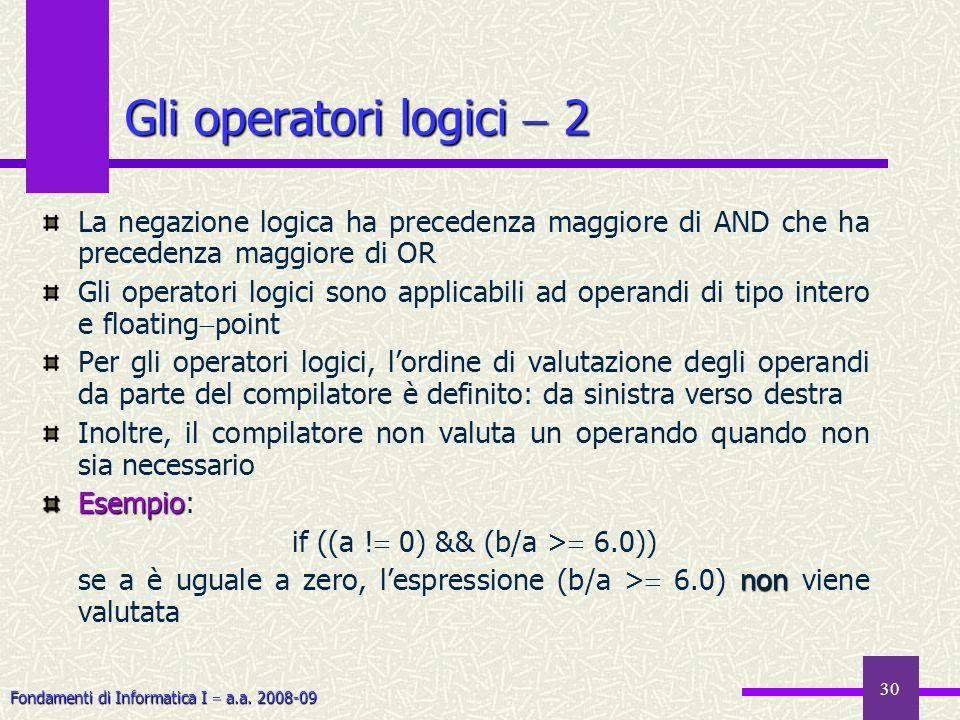 Fondamenti di Informatica I a.a. 2008-09 30 La negazione logica ha precedenza maggiore di AND che ha precedenza maggiore di OR Gli operatori logici so