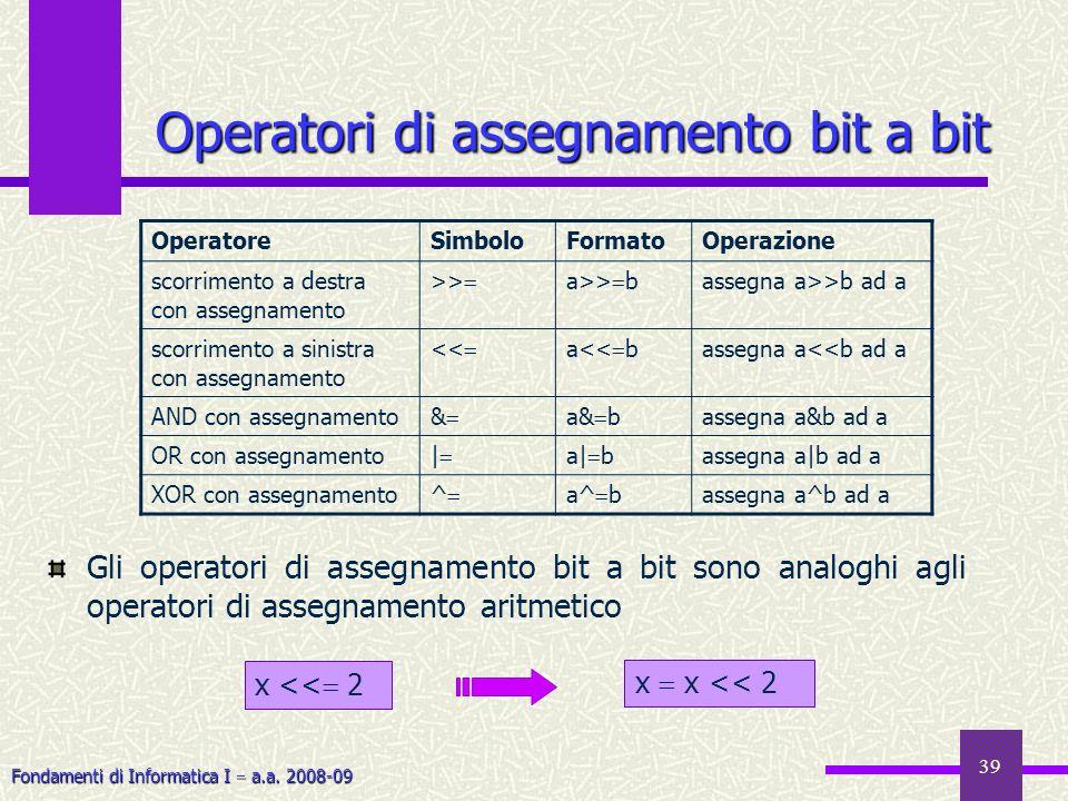 Fondamenti di Informatica I a.a. 2008-09 39 Operatori di assegnamento bit a bit Operatori di assegnamento bit a bit OperatoreSimboloFormatoOperazione