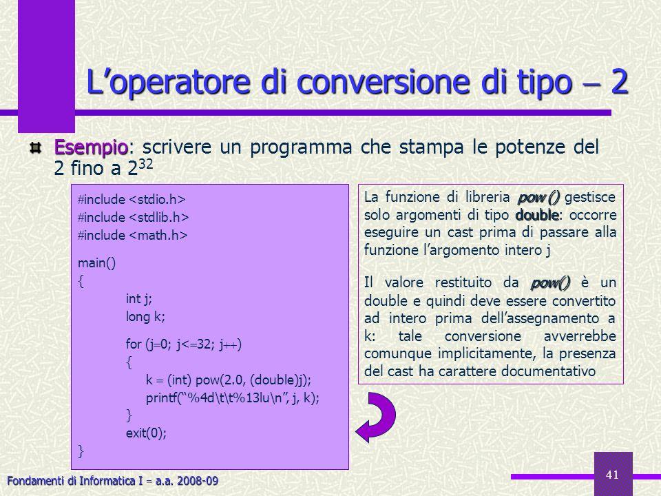 Fondamenti di Informatica I a.a. 2008-09 41 Loperatore di conversione di tipo 2 Esempio Esempio: scrivere un programma che stampa le potenze del 2 fin