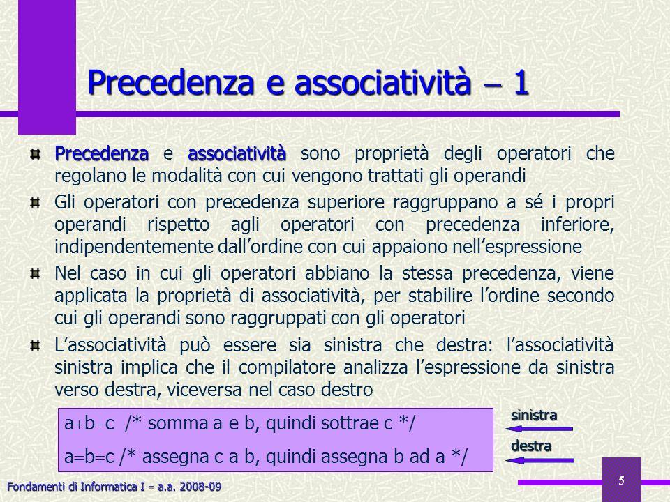 Fondamenti di Informatica I a.a. 2008-09 5 Precedenza e associatività 1 Precedenzaassociatività Precedenza e associatività sono proprietà degli operat