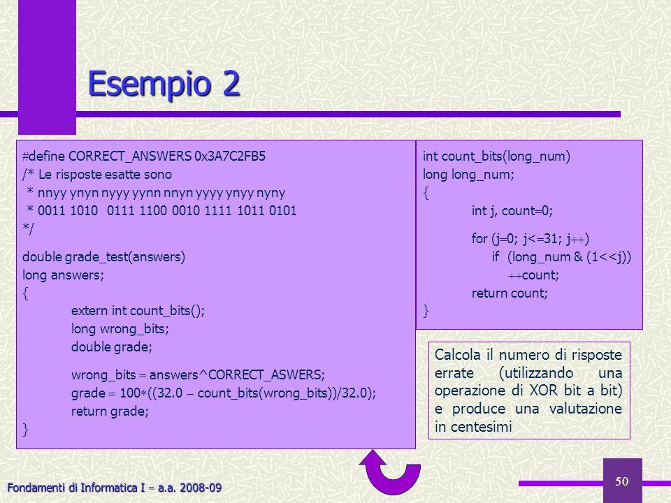 Fondamenti di Informatica I a.a. 2008-09 50 Esempio 2 define CORRECT_ANSWERS 0x3A7C2FB5 /* Le risposte esatte sono * nnyy ynyn nyyy yynn nnyn yyyy yny