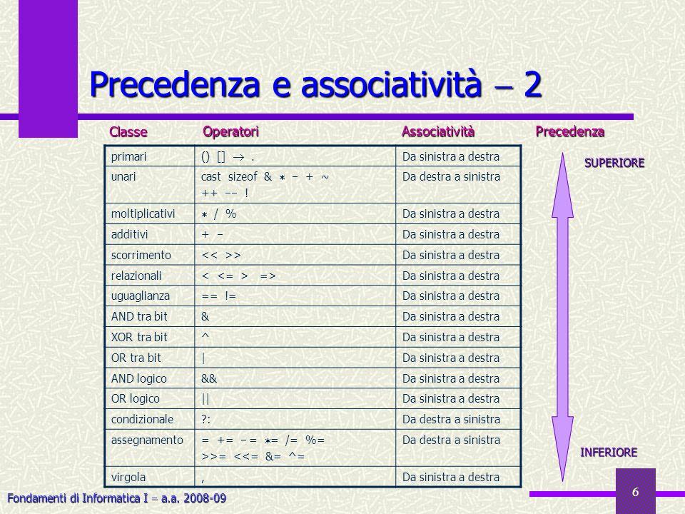 Fondamenti di Informatica I a.a. 2008-09 6 Precedenza e associatività 2 primari () []. Da sinistra a destra unari cast sizeof & + ~ ++ ! Da destra a s