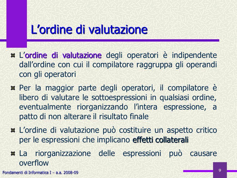 Fondamenti di Informatica I a.a. 2008-09 9 Lordine di valutazione ordine di valutazione Lordine di valutazione degli operatori è indipendente dallordi