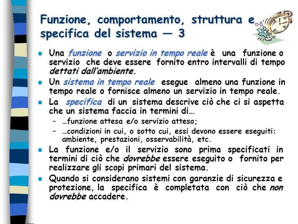 Funzione, comportamento, struttura e specifica del sistema 3 funzioneservizio in tempo reale dettati dallambiente n Una funzione o servizio in tempo reale è una funzione o servizio che deve essere fornito entro intervalli di tempo dettati dallambiente.