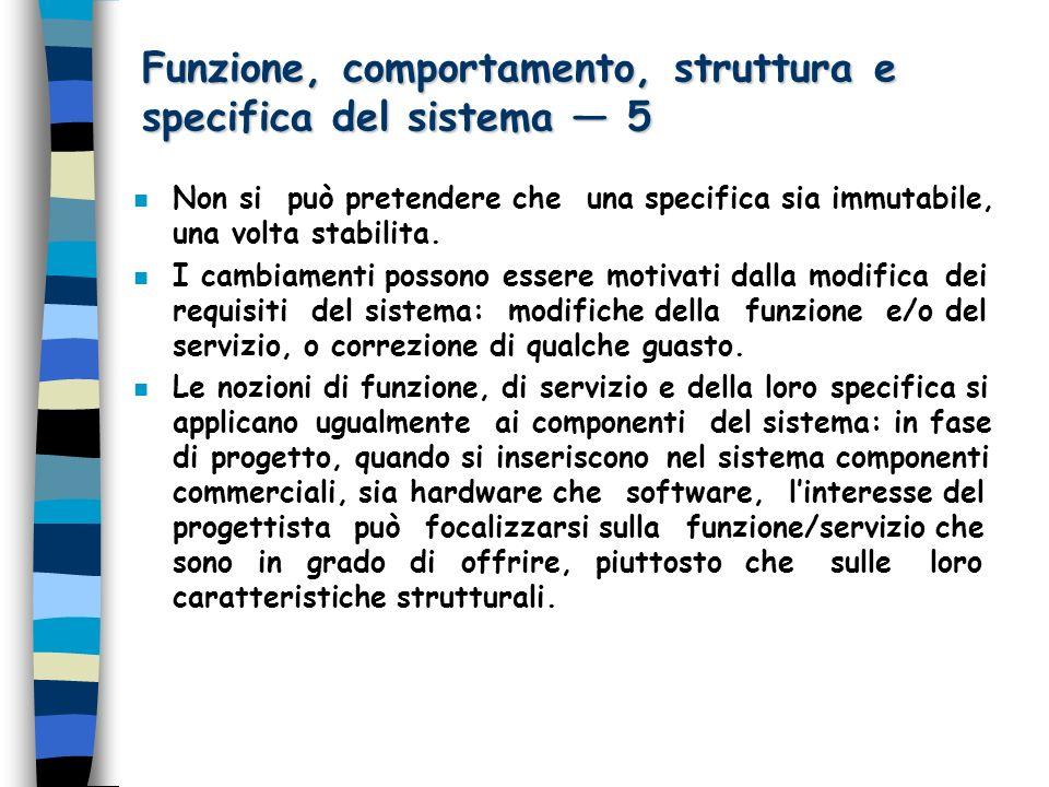 Funzione, comportamento, struttura e specifica del sistema 5 n Non si può pretendere che una specifica sia immutabile, una volta stabilita.