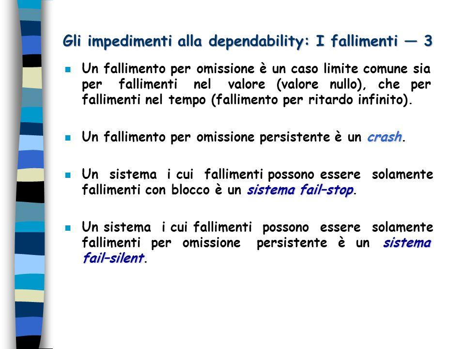 Gli impedimenti alla dependability: I fallimenti 3 n Un fallimento per omissione è un caso limite comune sia per fallimenti nel valore (valore nullo), che per fallimenti nel tempo (fallimento per ritardo infinito).