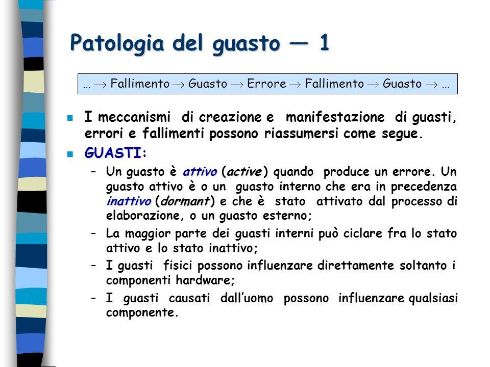 Patologia del guasto 1 n I meccanismi di creazione e manifestazione di guasti, errori e fallimenti possono riassumersi come segue.