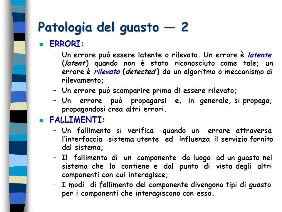 Patologia del guasto 2 n ERRORI: latente latent rilevatodetected –Un errore può essere latente o rilevato.