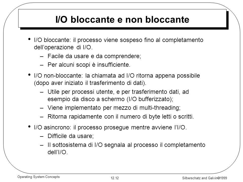 Silberschatz and Galvin 1999 12.12 Operating System Concepts I/O bloccante e non bloccante I/O bloccante: il processo viene sospeso fino al completame