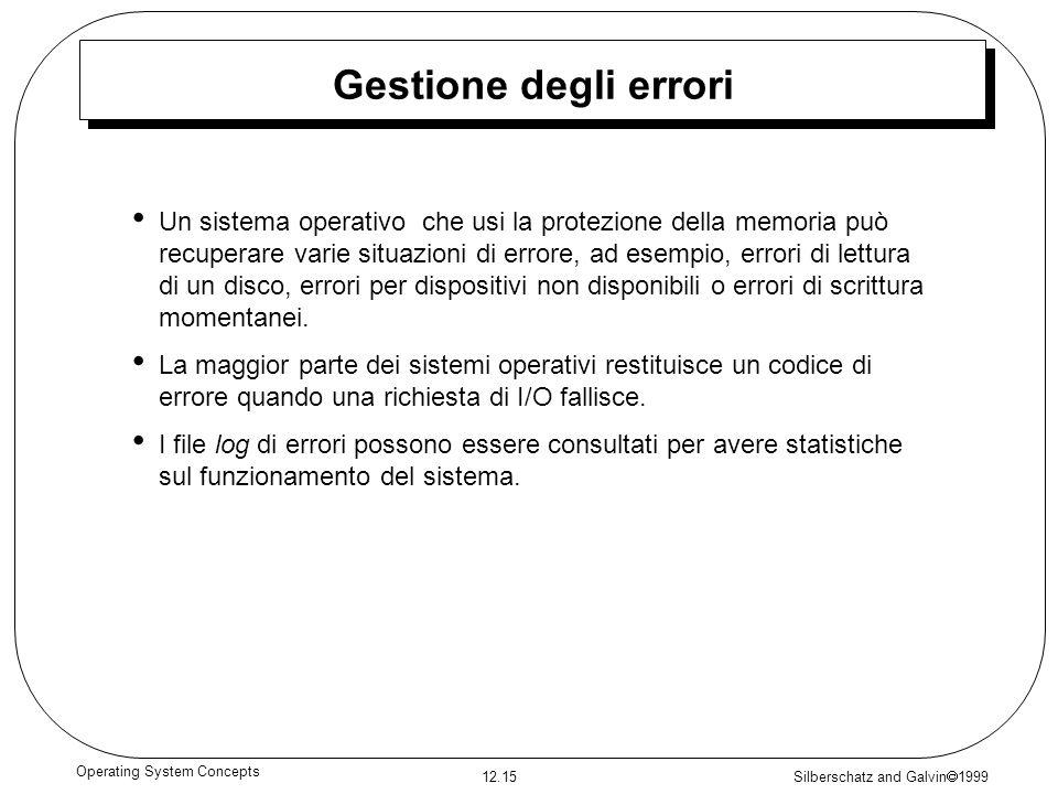 Silberschatz and Galvin 1999 12.15 Operating System Concepts Gestione degli errori Un sistema operativo che usi la protezione della memoria può recupe
