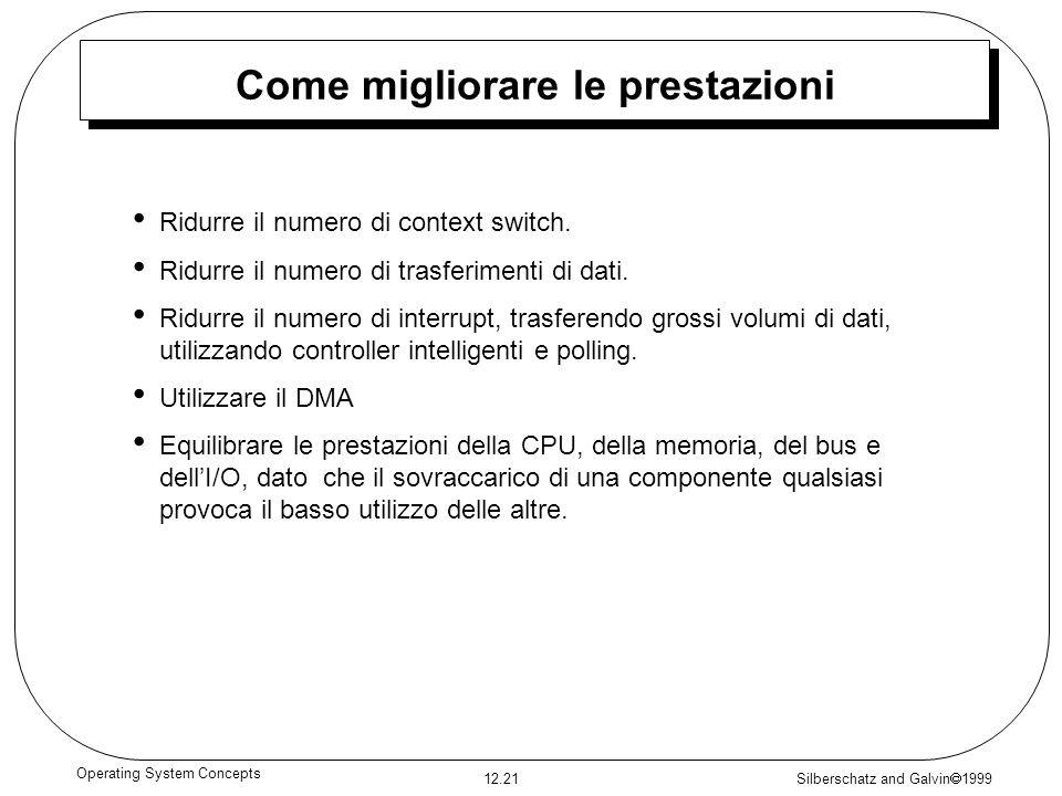 Silberschatz and Galvin 1999 12.21 Operating System Concepts Come migliorare le prestazioni Ridurre il numero di context switch. Ridurre il numero di