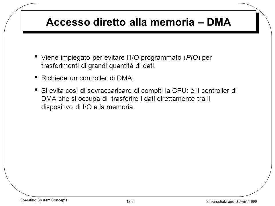 Silberschatz and Galvin 1999 12.6 Operating System Concepts Accesso diretto alla memoria – DMA Viene impiegato per evitare lI/O programmato (PIO) per