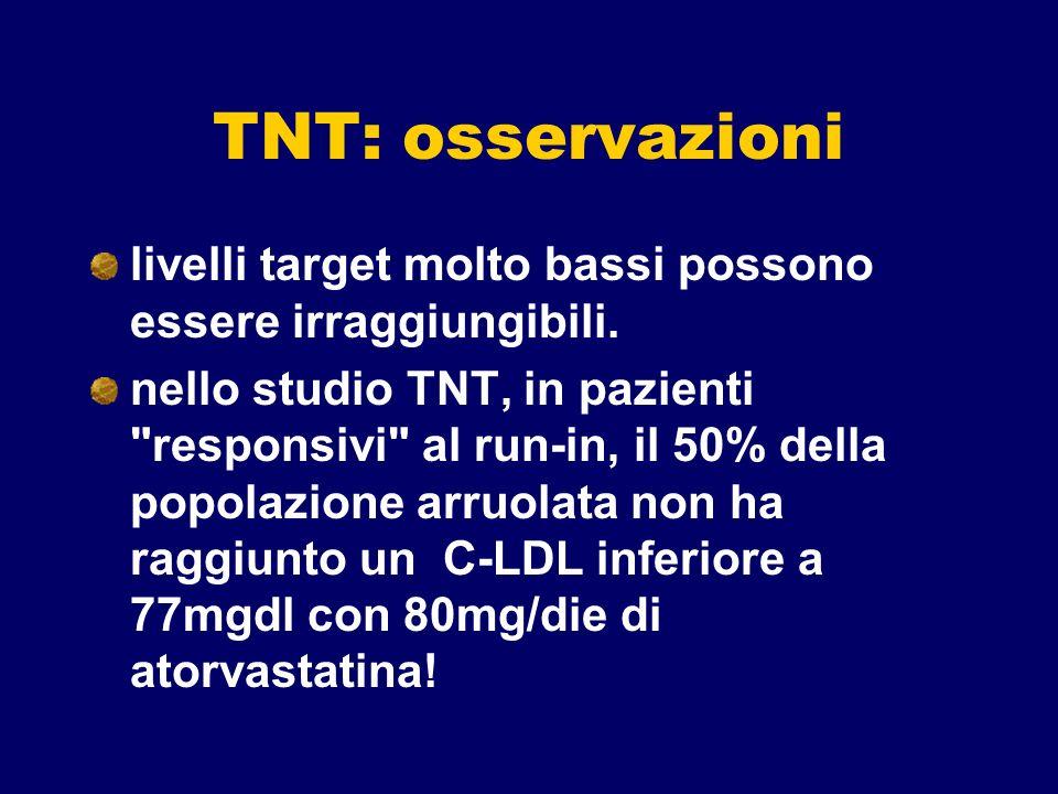 TNT: osservazioni livelli target molto bassi possono essere irraggiungibili. nello studio TNT, in pazienti