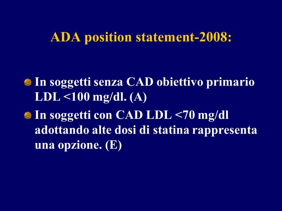 ADA position statement-2008: In soggetti senza CAD obiettivo primario LDL <100 mg/dl. (A) In soggetti con CAD LDL <70 mg/dl adottando alte dosi di sta