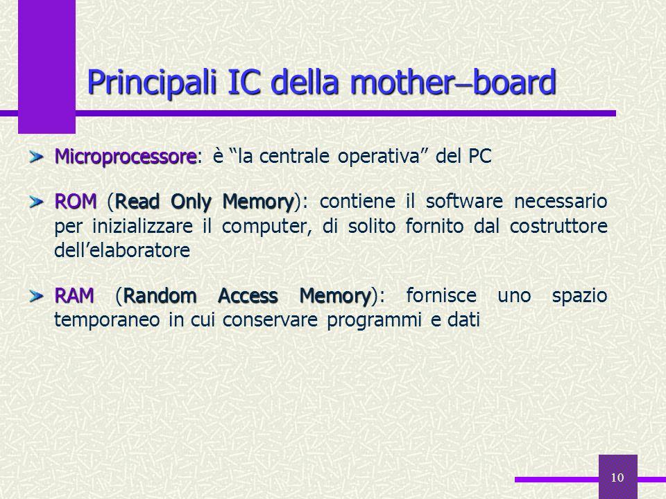 10 Principali IC della mother board Microprocessore Microprocessore: è la centrale operativa del PC ROMRead Only Memory ROM (Read Only Memory): contie