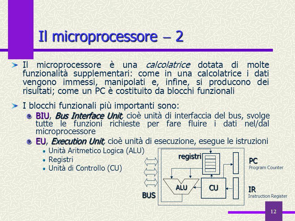 12 Il microprocessore 2 Il microprocessore è una calcolatrice dotata di molte funzionalità supplementari: come in una calcolatrice i dati vengono imme