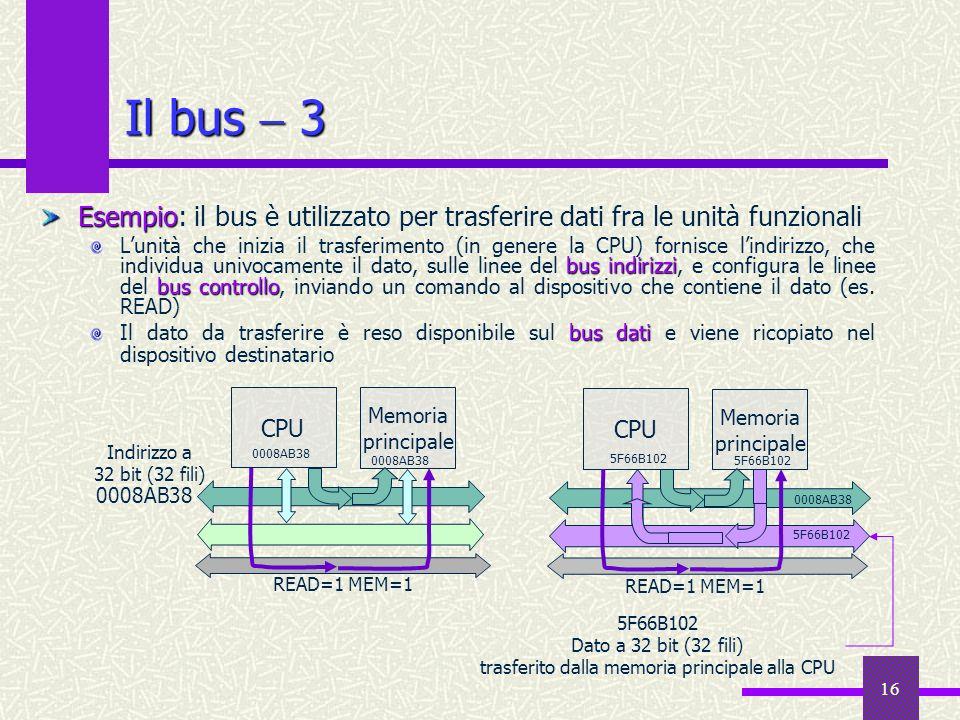 16 Memoria principale CPU Esempio Esempio: il bus è utilizzato per trasferire dati fra le unità funzionali bus indirizzi bus controllo Lunità che iniz