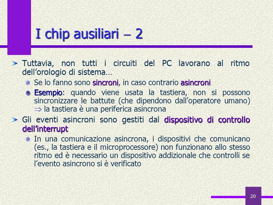 20 I chip ausiliari 2 Tuttavia, non tutti i circuiti del PC lavorano al ritmo dellorologio di sistema… sincroniasincroni Se lo fanno sono sincroni, in