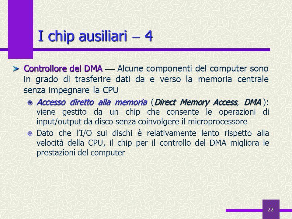 22 Controllore del DMA Controllore del DMA Alcune componenti del computer sono in grado di trasferire dati da e verso la memoria centrale senza impegn