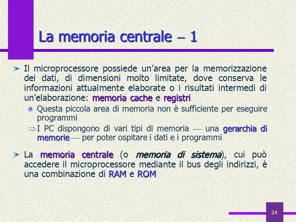 24 La memoria centrale 1 memoria cacheregistri Il microprocessore possiede unarea per la memorizzazione dei dati, di dimensioni molto limitate, dove c