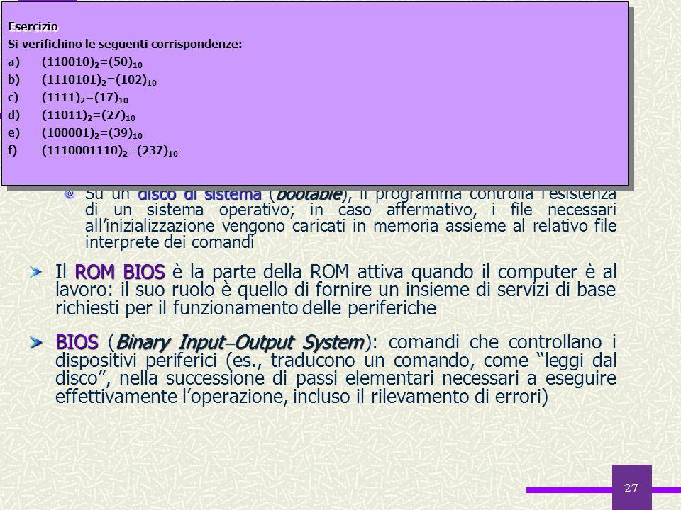 27 Il software della ROM 2 caricatore di boot strap Il caricatore di boot strap ha la funzione di leggere un programma di lancio dal disco e di trasfe