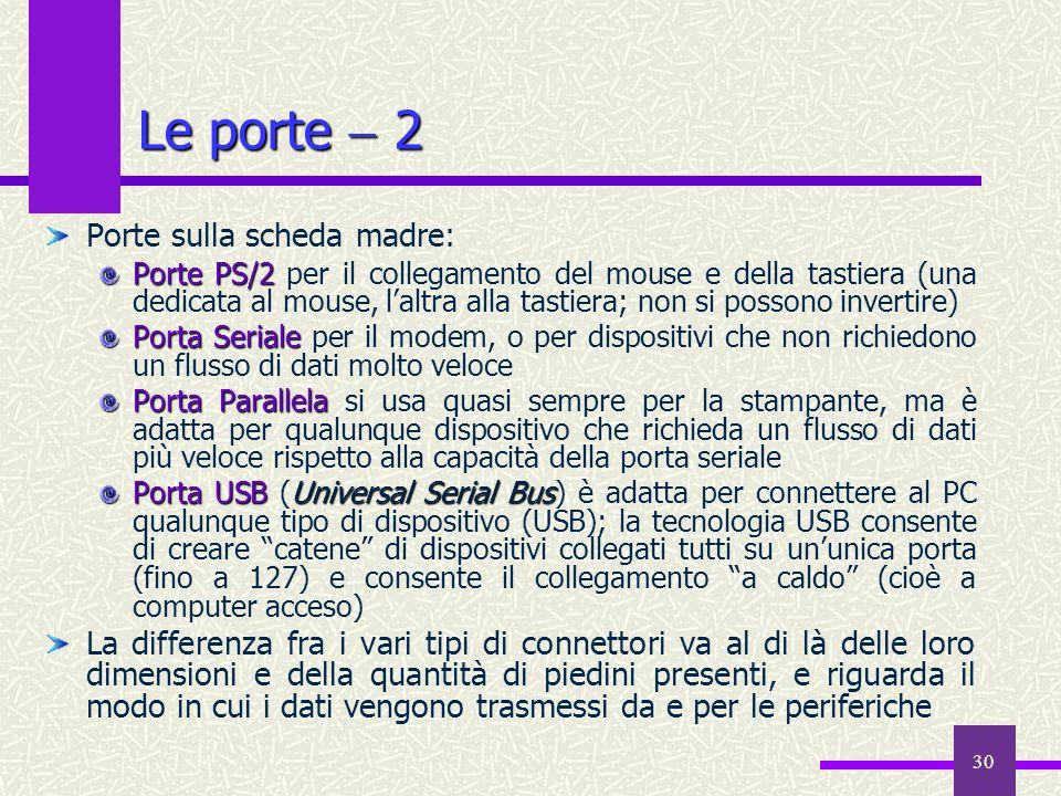 30 Le porte 2 Porte sulla scheda madre: Porte PS/2 Porte PS/2 per il collegamento del mouse e della tastiera (una dedicata al mouse, laltra alla tasti