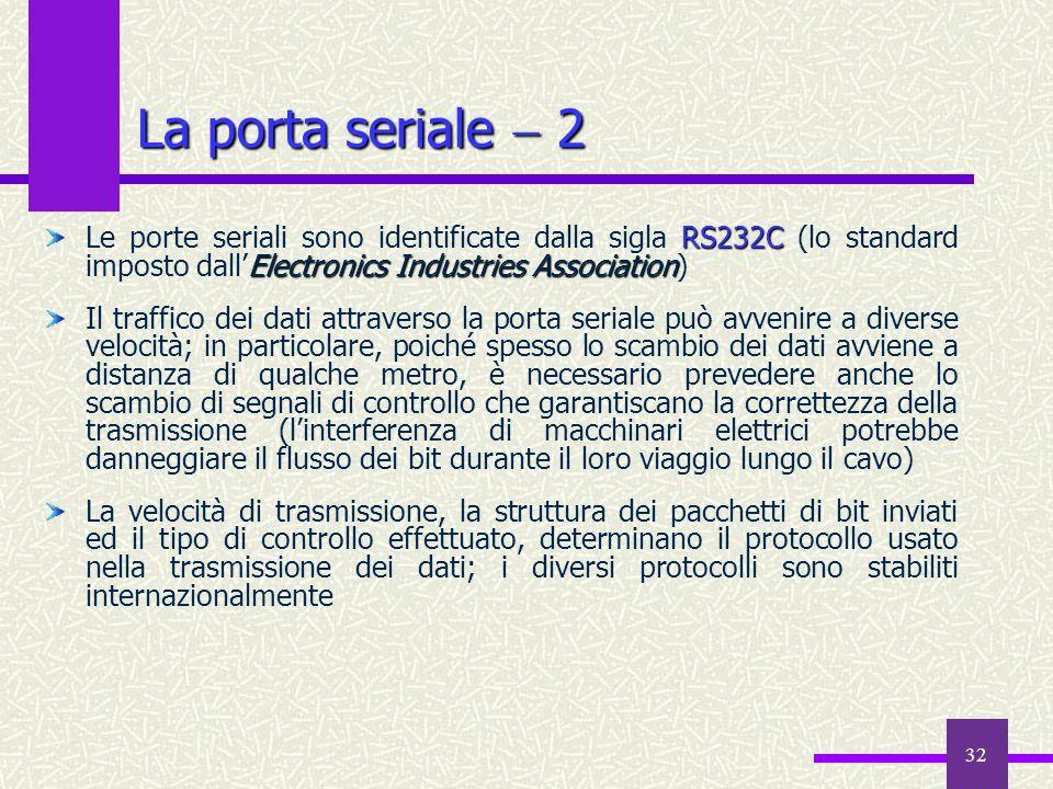 32 La porta seriale 2 RS232C Electronics Industries Association Le porte seriali sono identificate dalla sigla RS232C (lo standard imposto dallElectro