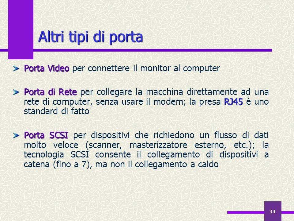 34 Altri tipi di porta Porta Video Porta Video per connettere il monitor al computer Porta di Rete RJ45 Porta di Rete per collegare la macchina dirett