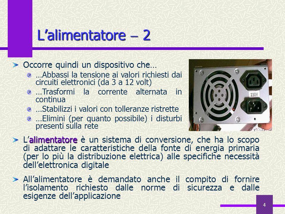 4 Lalimentatore 2 alimentatore Lalimentatore è un sistema di conversione, che ha lo scopo di adattare le caratteristiche della fonte di energia primar