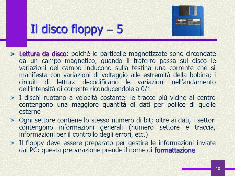 40 Il disco floppy 5 Lettura da disco Lettura da disco: poiché le particelle magnetizzate sono circondate da un campo magnetico, quando il traferro pa