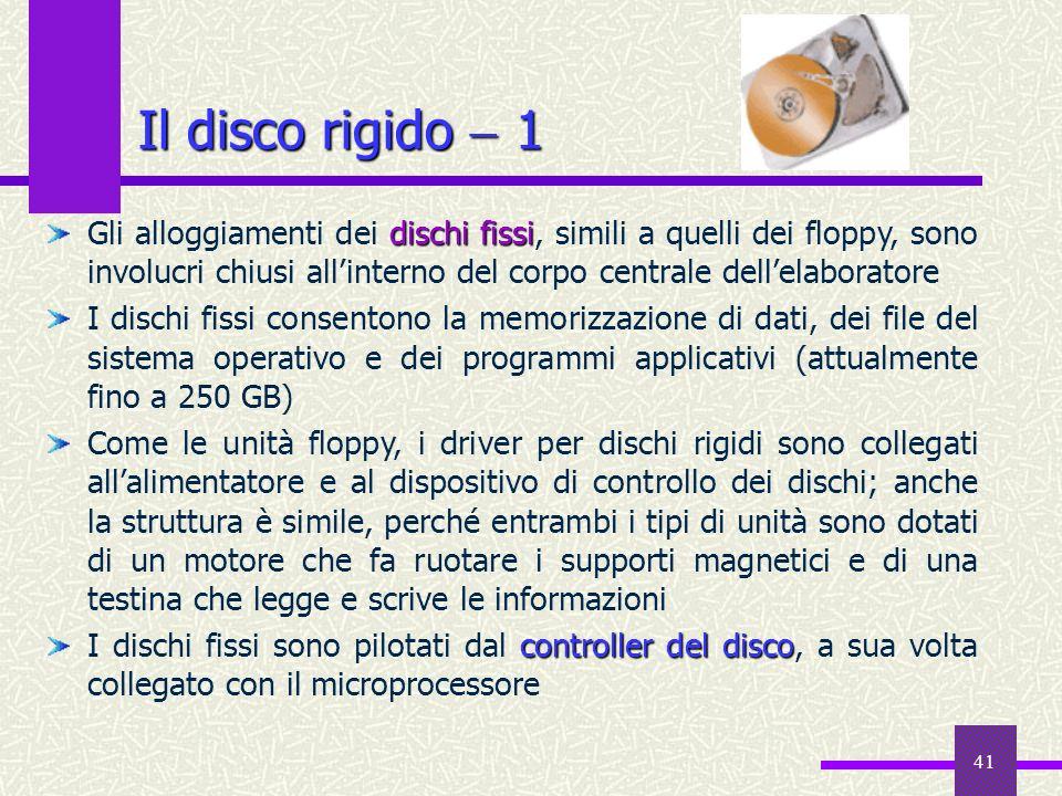 41 Il disco rigido 1 dischi fissi Gli alloggiamenti dei dischi fissi, simili a quelli dei floppy, sono involucri chiusi allinterno del corpo centrale