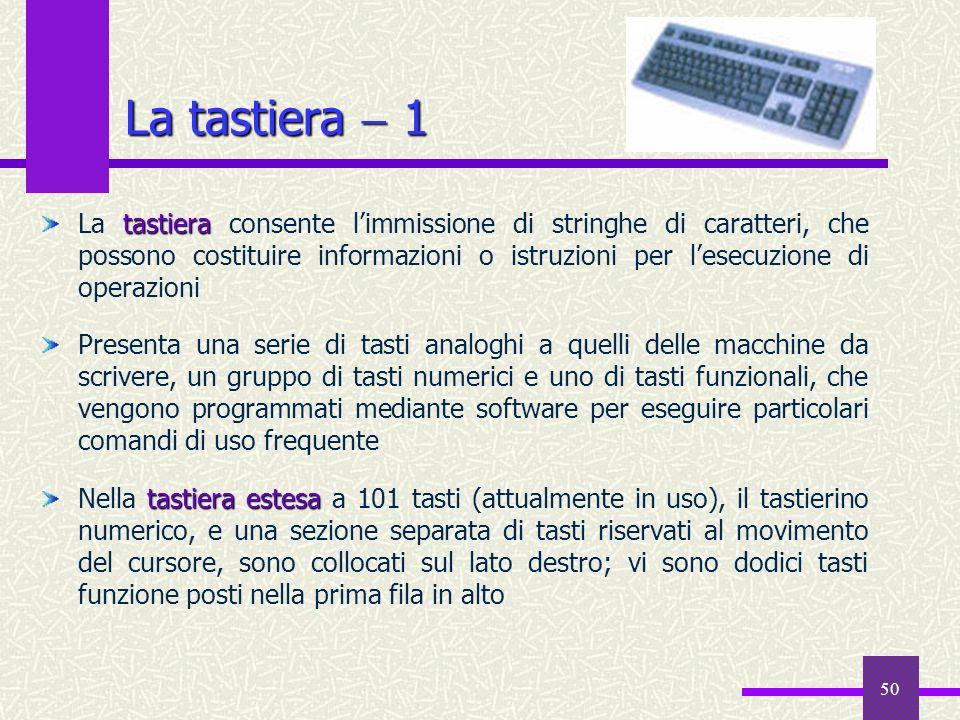 50 La tastiera 1 tastiera La tastiera consente limmissione di stringhe di caratteri, che possono costituire informazioni o istruzioni per lesecuzione