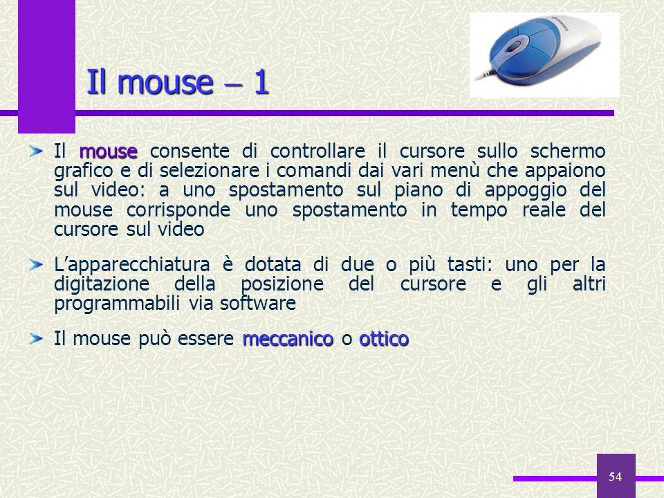 54 Il mouse 1 mouse Il mouse consente di controllare il cursore sullo schermo grafico e di selezionare i comandi dai vari menù che appaiono sul video:
