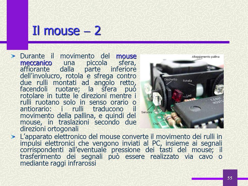 55 Il mouse 2 Lapparato elettronico del mouse converte il movimento dei rulli in impulsi elettronici che vengono inviati al PC, insieme ai segnali cor