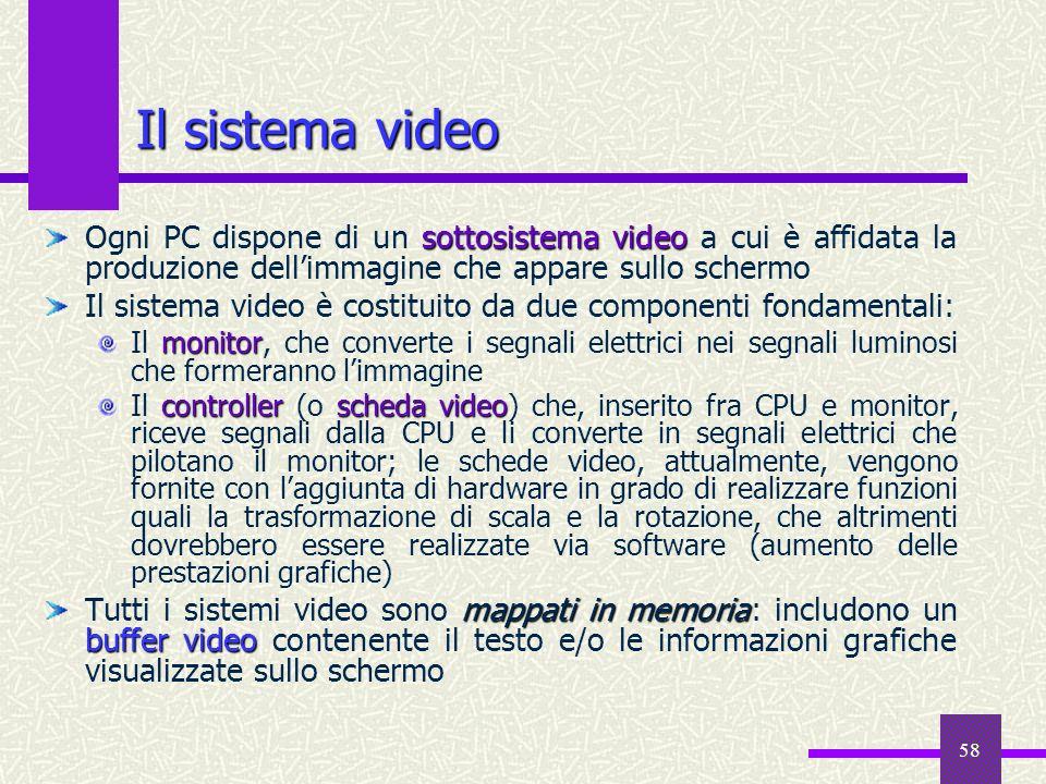 58 Il sistema video sottosistema video Ogni PC dispone di un sottosistema video a cui è affidata la produzione dellimmagine che appare sullo schermo I