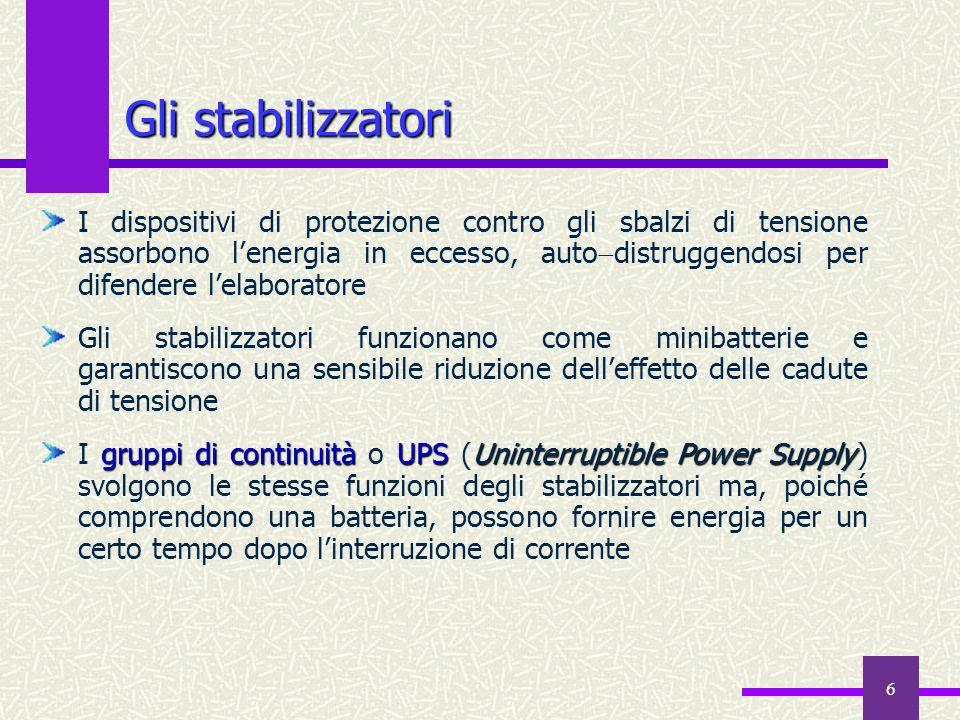 6 Gli stabilizzatori I dispositivi di protezione contro gli sbalzi di tensione assorbono lenergia in eccesso, auto distruggendosi per difendere lelabo