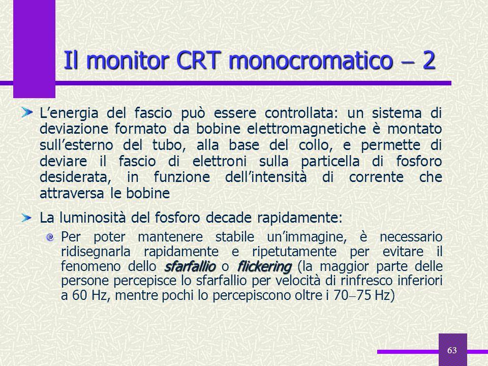 63 Il monitor CRT monocromatico 2 Lenergia del fascio può essere controllata: un sistema di deviazione formato da bobine elettromagnetiche è montato s