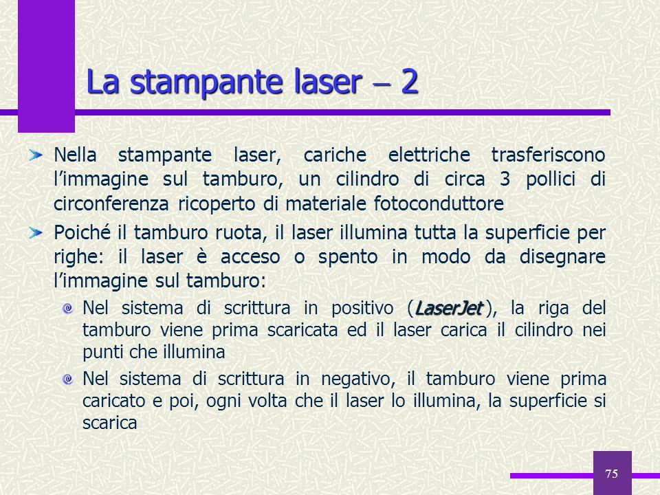 75 La stampante laser 2 Nella stampante laser, cariche elettriche trasferiscono limmagine sul tamburo, un cilindro di circa 3 pollici di circonferenza