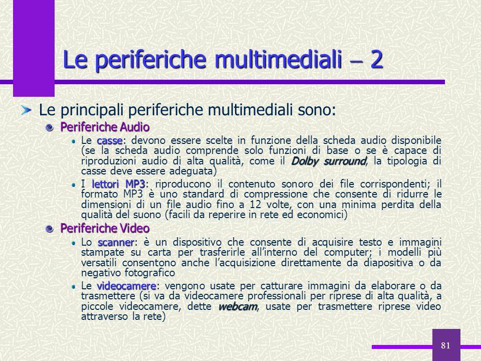 81 Le periferiche multimediali 2 Le principali periferiche multimediali sono: Periferiche Audio casse Dolby surround Le casse: devono essere scelte in