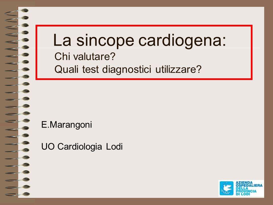 IL RUOLO DEL CARDIOLOGO 1.Diagnosi di sincope cardiaca dopo la valutazione iniziale 2.Consulenza cardiologica per sincope di natura incerta 3.Gestione del paziente con cardiopatia nota che ha una sincope 4.Accertamenti strumentali per la sincope cardiaca e per la sincope neuromediata