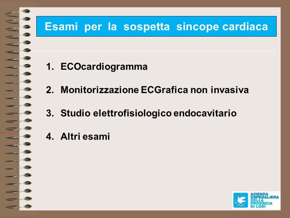 Esami per la sospetta sincope cardiaca 1.ECOcardiogramma 2.Monitorizzazione ECGrafica non invasiva 3.Studio elettrofisiologico endocavitario 4.Altri e