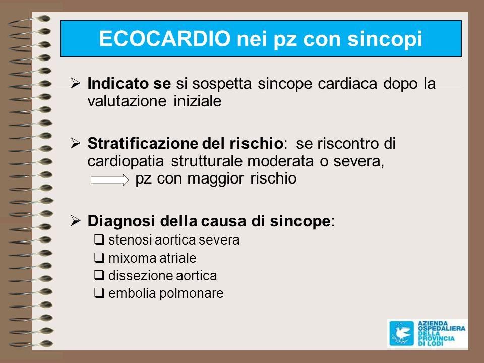 ECOCARDIO nei pz con sincopi Indicato se si sospetta sincope cardiaca dopo la valutazione iniziale Stratificazione del rischio: se riscontro di cardio