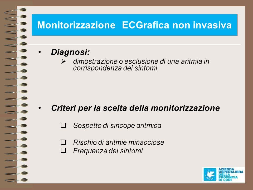 Monitorizzazione ECGrafica non invasiva Diagnosi: dimostrazione o esclusione di una aritmia in corrispondenza dei sintomi Criteri per la scelta della