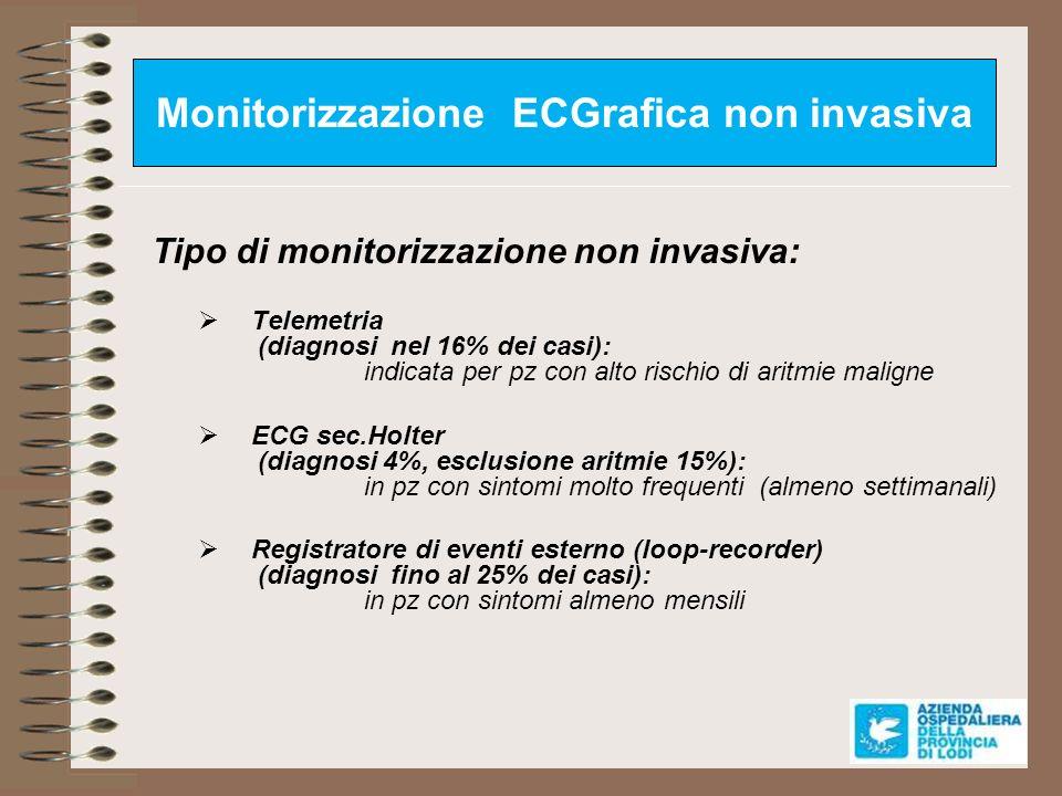 Monitorizzazione ECGrafica non invasiva Tipo di monitorizzazione non invasiva: Telemetria (diagnosi nel 16% dei casi): indicata per pz con alto rischi